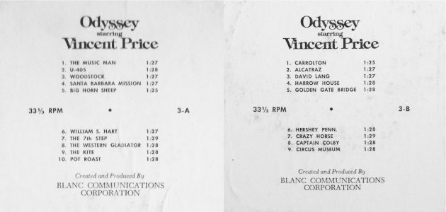 Odyssey starring Vincent Price